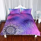 ARIGHTEX Iridescent Pink Purple Blue Mandala Duvet Cover 3 Pcs Boho Bedding Set Girly Duvet Cover (Full)