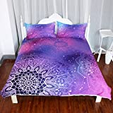 Pink and Purple Duvet Covers ARIGHTEX Iridescent Pink Purple Blue Mandala Duvet Cover 3 Pieces Boho Bedding Set Girly Duvet Cover (Queen)