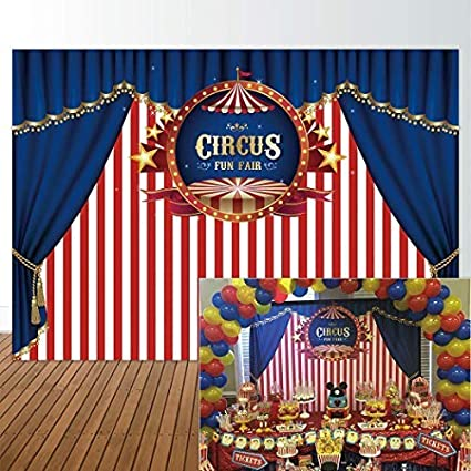 Humorous Circus Birthday Party Personal Carnival Dessert Table Stars Fun Fair Boy Baby Shower Kids Children Backgrounds Photo Pro Booth Background