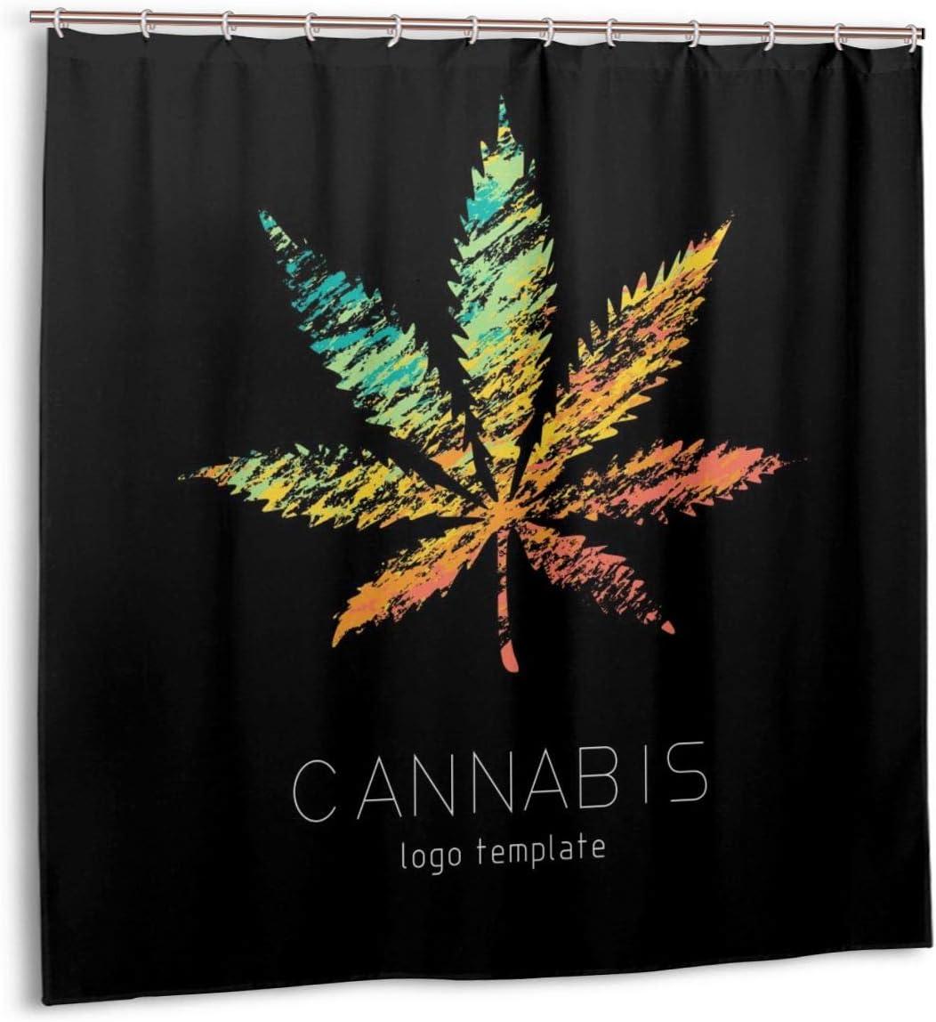 Oforp Conjunto de Cortinas de baño para Cortinas de decoración de baño,Logotipo Creativo de Cannabis.Cortinas de baño de Tela con símbolo Colorido de Marihuana con Ganchos 180cmx180cm