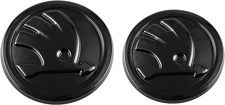 2pcs Car Styling Mittlerer Frontgrill Heckkoffer Embleme Ersatz Logo Aufkleber Für S Koda Octavia Vorne Und Hinten Bright Black Auto