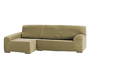 Eysa Teide - Funda para sofa con chaise longue (240 cm, poliester acrilico, elastica, chaise longue a la derecha), color Beige