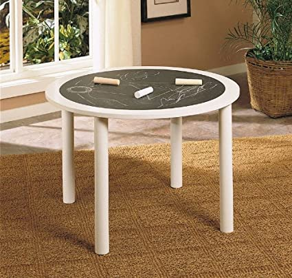 Merveilleux Kids Round Table With Chalkboard Design In White Finish