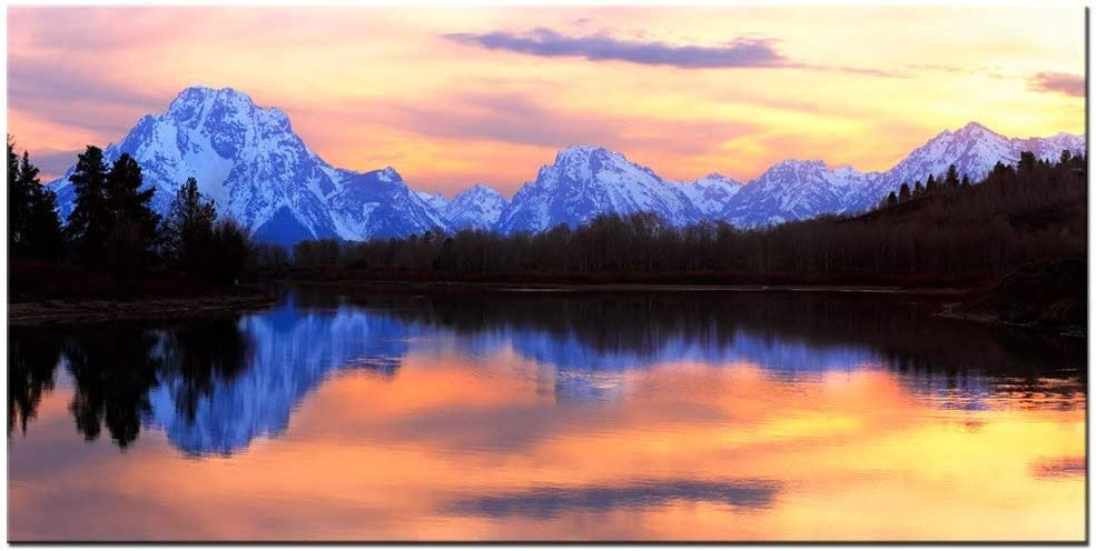 """LevvArts Grand Teton National Park Landscape Canvas Wall Art,The Tetons Reflecting in The Snake River at Oxbow Bend Canvas Print,Home and Living Room Decor,Wyoming Scenery Wall Art -24""""x 48"""""""