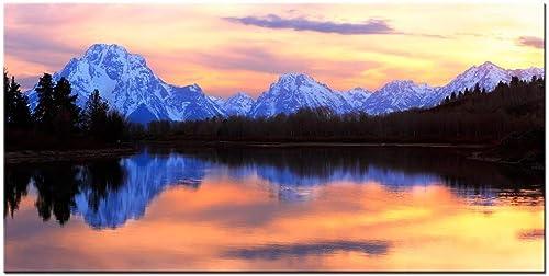 LevvArts Grand Teton National Park Landscape Canvas Wall Art,The Tetons Reflecting