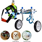 HiHydro 6 Types Cart Pet Wheelchair for Handicapped Hind Legs Small Dog Cat/Doggie/Puppy Walk Stainless Steel XXS-L