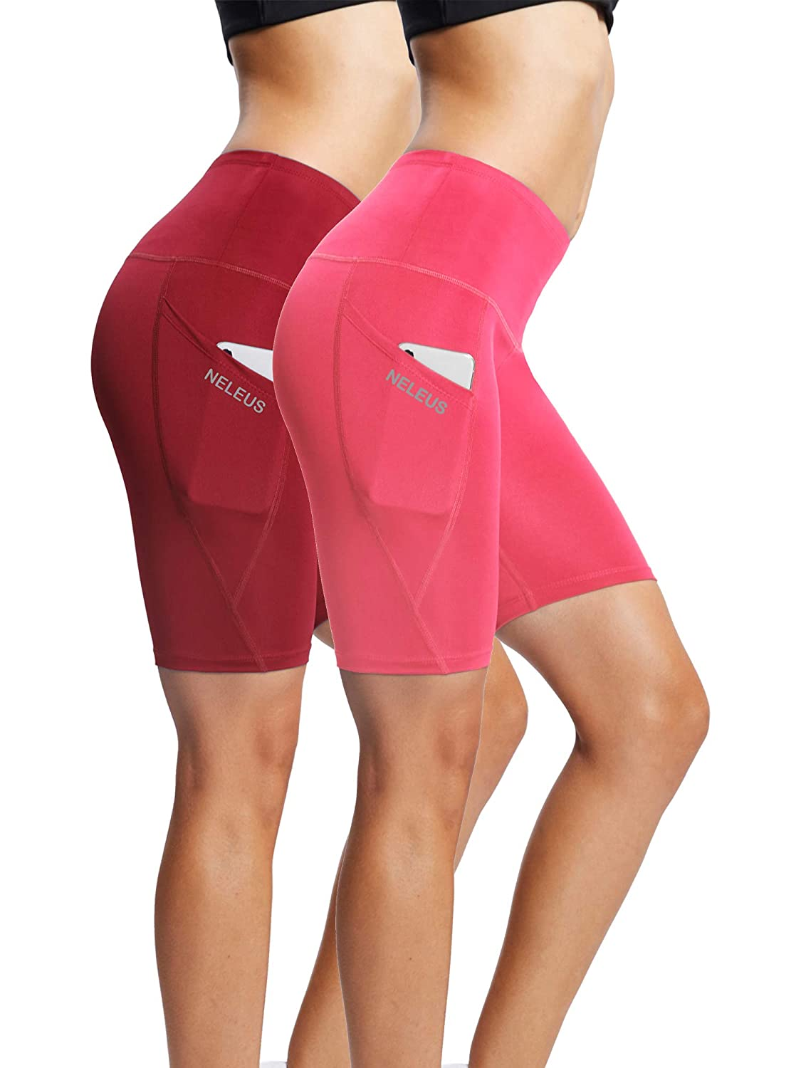 Neleus Womens Workout Compression Yoga Shorts with Pocket