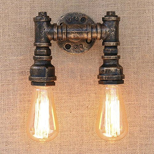 dustrial Retro Vintage style 5.9'' H Double Light Bronze Finished Water Pipe wall Light lamp wall sconce use E26/27 Bulb (Finished Wall Lamp)