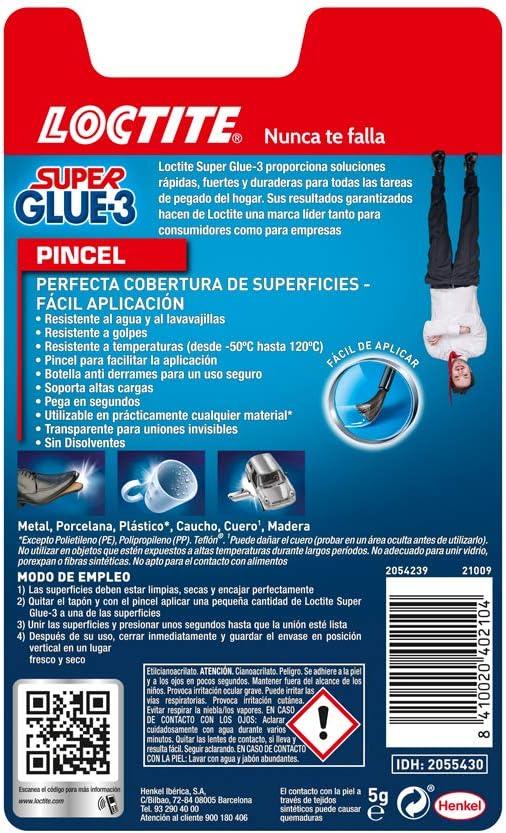 Loctite Super Glue-3 Pincel, pegamento transparente con pincel ...