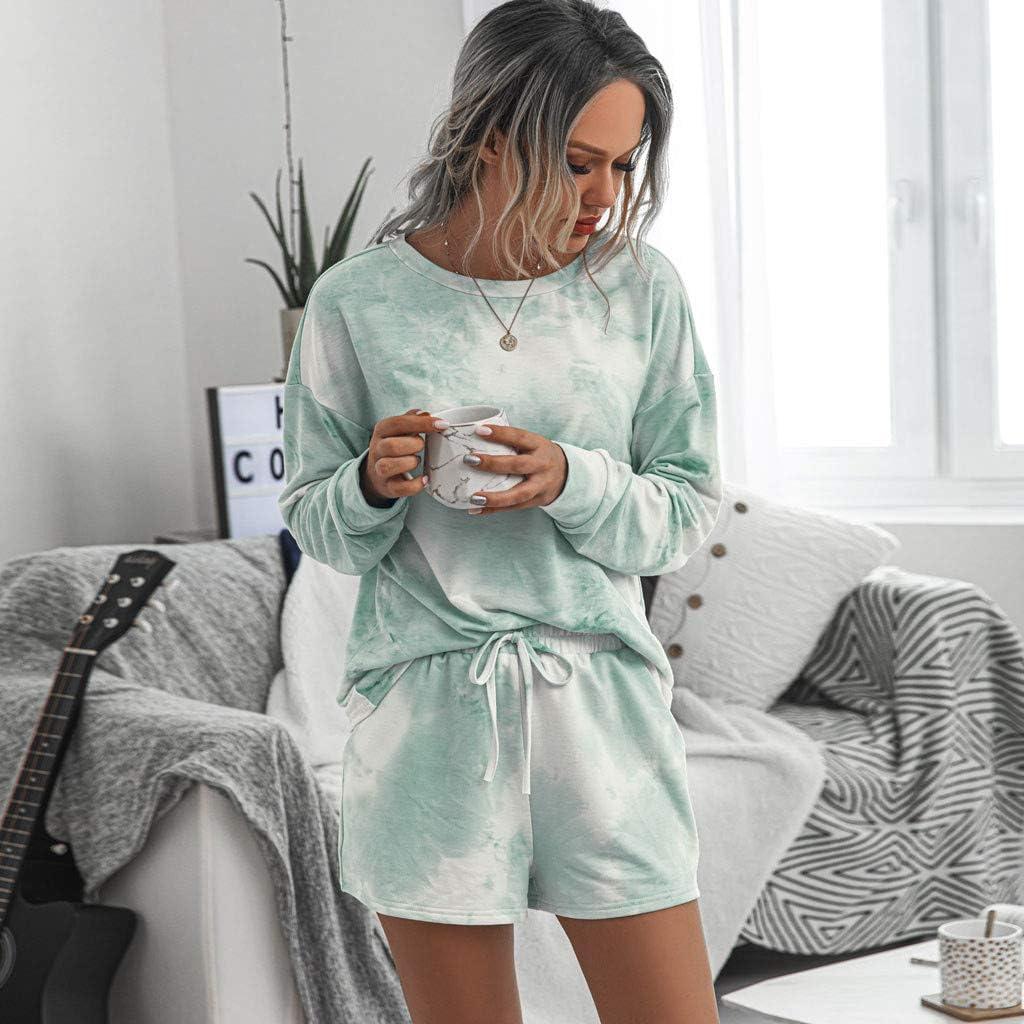 Youmymine Women 2PC Tie-Dye Sweatsuit Set Long Sleeve Pullover Summer Fashion Drawstring Sweatpant Set