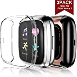 Maledan Ultra Thin Screen Protector Case Compatible with Fitbit Versa 2, 3 Pack TPU HD Full Protective Case Cover Scratch Resistant Shock Absorbing for Fitbit Versa 2 Smartwatch Bands Accessories