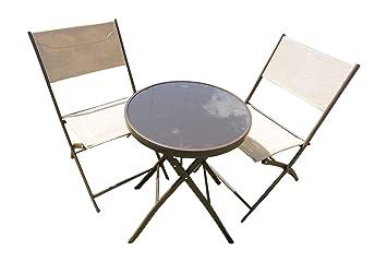 UK-Gardens Marrón 3 Piezas Metal Patio jardín Bistro – Juego de 2 sillas Plegables y Mesa
