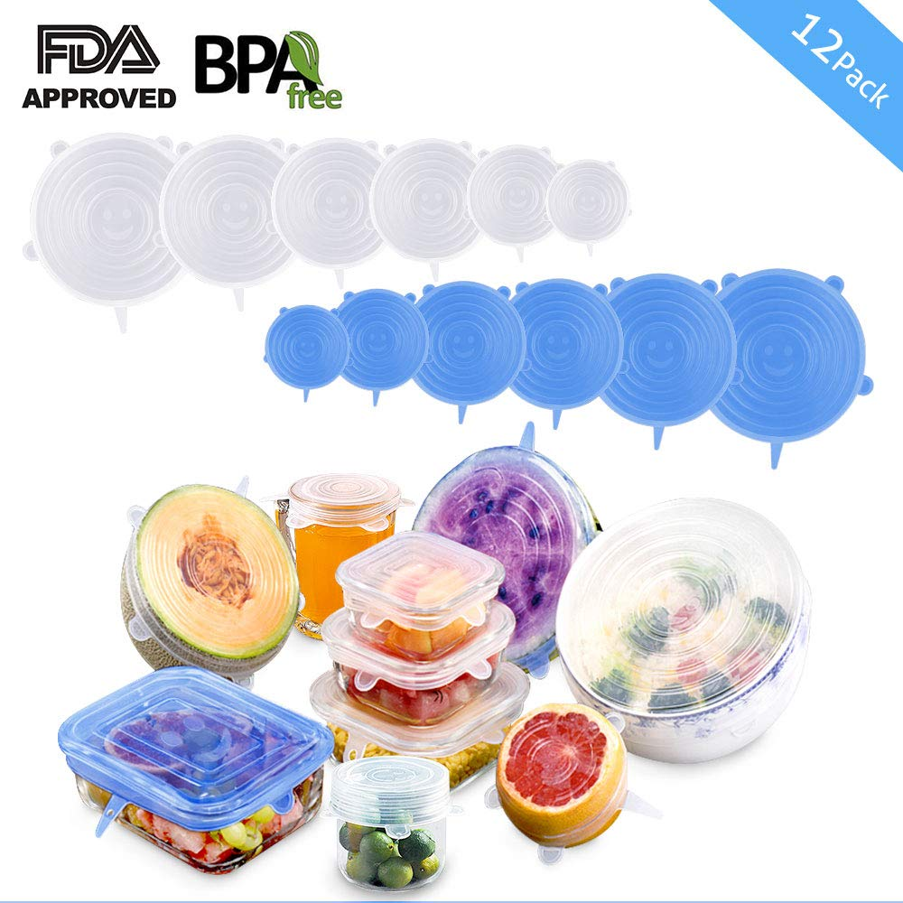 Silicone Stretch Lids, Reusable Airtight Food Storage Covers, Keeping Food Fresh, Durable and Stretchable to Fit Various Sizes and Shapes of Containers.Microwave and Dishwasher Safe (12-Pack)