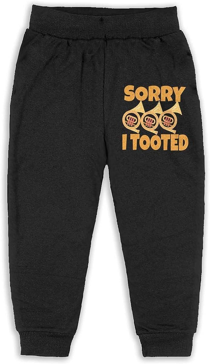Kid Sorry I Tooted Boys Girls Sweatpants Basic Fleece Jogger Back Pocket Black