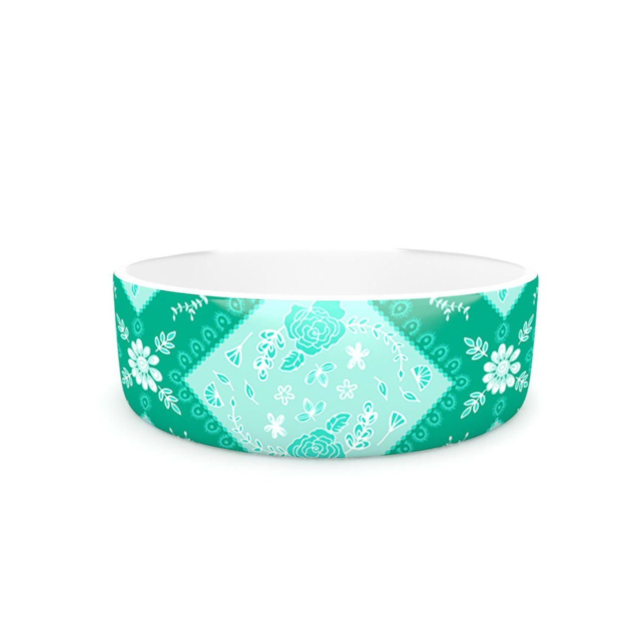 Kess InHouse Anneline Sophia Diamonds Mint  Pet Bowl, 7-Inch, Green Seafoam