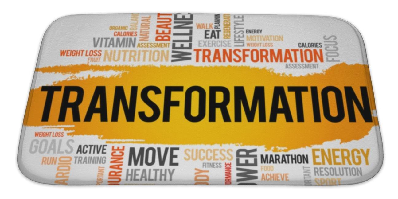 Gear New Bath Mat For Bathroom, Memory Foam Non Slip, Transformation Word Cloud Fitness Sport, 34x21, 6175513GN