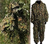 Isafish Ghillie Suits Hunting Camouflage Maple Leaf Hooded 3D Bionic Training Uniform Military