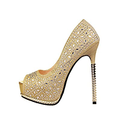 160f8bf43cb50 Wotefusi Women Bling Shiny Rhinestone Platform Peep-Toe Sexy Party Club Shoes  Stiletto High Heels Sandals  Amazon.co.uk  Shoes   Bags
