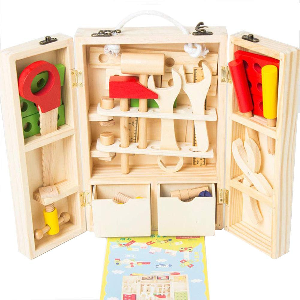Angle Legno DIY Portatile Portatile Multi-Funzione Bambini Simulazione Toolbox Kit di Riparazione Combinazione Puzzle Gioco casa smontaggio precoce educazione Puzzle Gioco casa Giocattolo