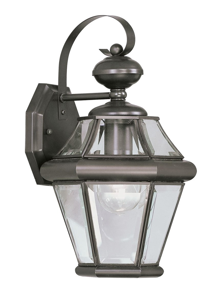 Livex Lighting 2161-07 Outdoor Wall Lantern with Clear Beveled Glass Shades, Bronze