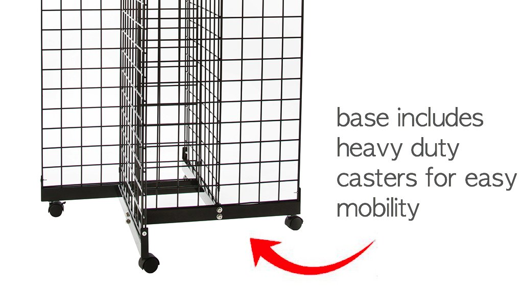 Only Hangers Black 4-Way Wire Grid Tower with Base and Casters - 2' x 6' Wire Grid Panel 4-Sided Rolling Display Rack by Only Hangers (Image #4)