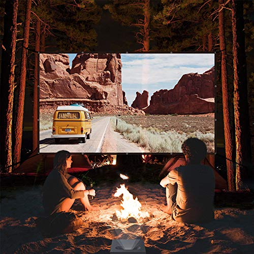 Yome 120 Inch Projector Screen, 16:9 HD Anti-Crease Indoor Outdoor Foldable Portable Movie Screen Support Double Sided Projection for Home Office Travel Party, 4K, 3D, White Photo #8