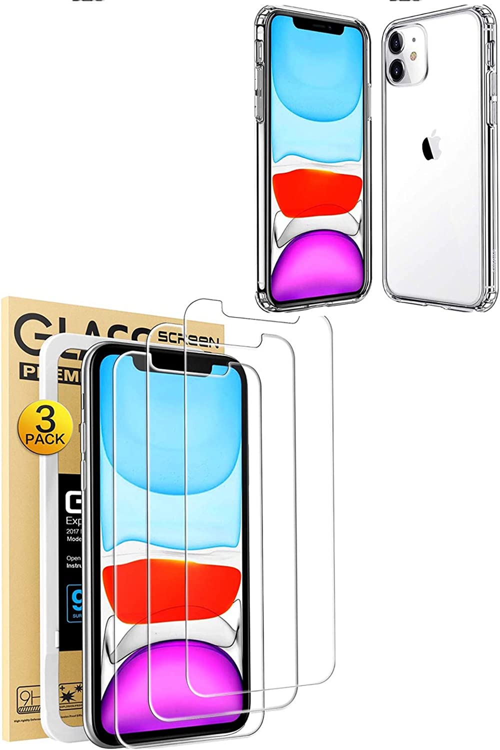Mkeke Compatible with iPhone 11 Case and iphone 11 screen protector 6.1 Inch