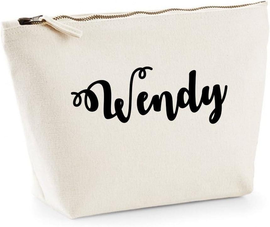 Wendy nombre personalizado lona de algodón bolsa de accesorios de ...