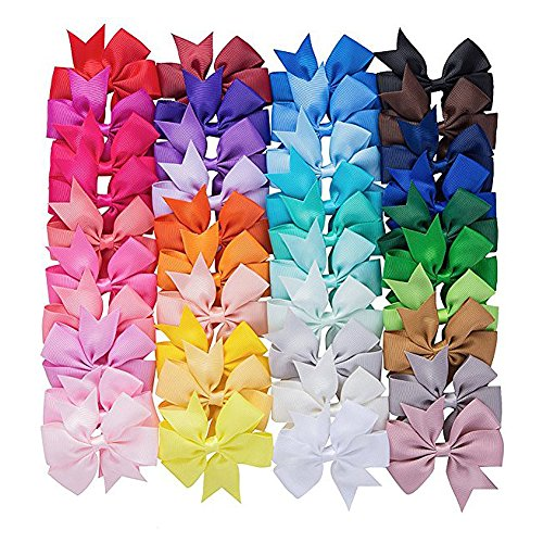 40pack 3inch Hair Bow Clips for Girls Ribbon Bowknot Hair Bows With Alligator Clips Grosgrain Barrettes Accessories for Baby Girls Teens Toddlers Kids Children (40 Colors)