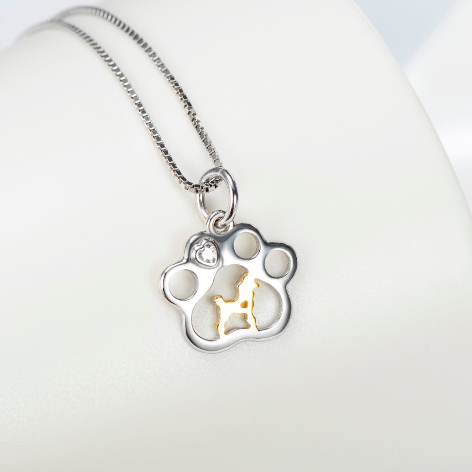 CS-DB Pendants Necklaces Silver Gold Dog Tag Paw Print Jewelry Girls Pet Animal Jewelry