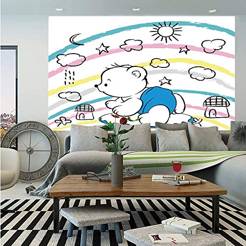 - Bear Huge Photo Wall Mural,Children Kids Theme Cute Doodle Toy with Clouds Sun Moon and Houses Colorful Stripes Decorative,Self-adhesive Large Wallpaper for Home Decor 100x144 inches,Multicolor