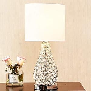 POPILION Alloy Crystal Base Livingroom Bedroom Bedside Table Lamp,Wide Lampshade