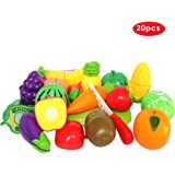 Buyger 20 PCS Plastic Fruit Vegetable Kitchen Cutting Toy Pretend Role Play set Educational Toys for Kids