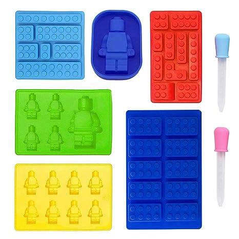 8 en 1 Molde de silicona bloques de construcción, juego de 6 moldes robots +