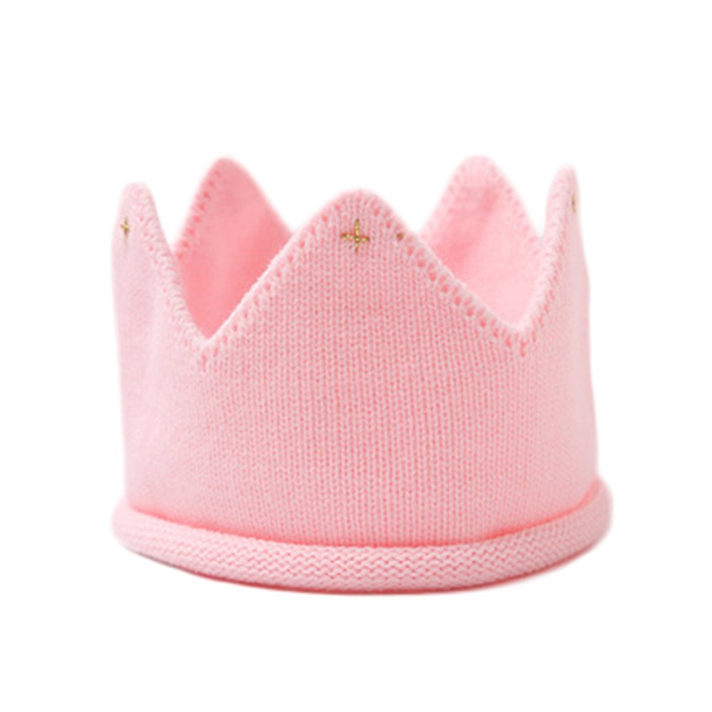 b2cf3c76b Fancyku Baby Boy Girl Crown Hat Birthday Warm Soft Knit Crochet Beanie Warm  Cap Multicolor