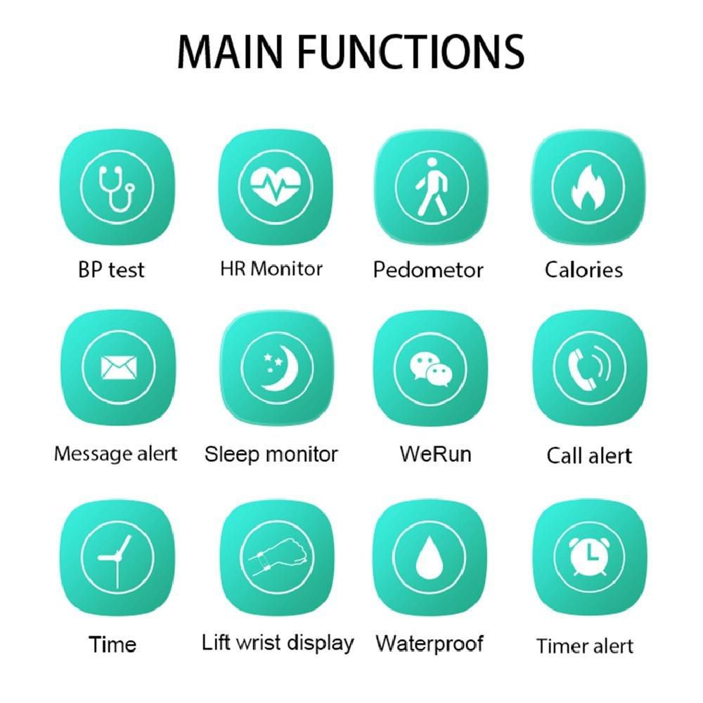 KOBWA Pulsera de Actividad con Pulsómetro, Tensiometro, Monitor de Sueño, Podómetro, Monitor de Calorías,Monitor de Actividad y Bluetooth, ...