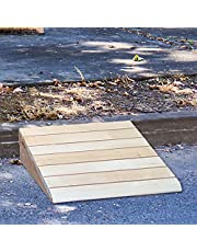 Outdoor Ramps for Elderly, Wood Threshold Ramps for Doorways/Entryway Ramp Slope for Wheelchair Walker, Curb Ramp 6 Inch Rise, Non Slip