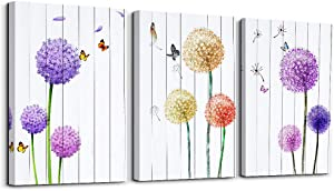Dandelion and Butterfly purple flowers Canvas Prints Wall Art Paintings Abstract Wall Artworks Pictures for Living Room Bedroom Decoration, 12x16 inch/piece, 3 Panels Home bathroom Wall decor posters