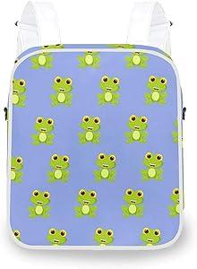 Women Square Backpack Shoulder Bag Cute Green Frog Rucksack Daypack Purse
