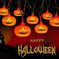 Arespark Luces de Cadena de Calabaza, 20 Luces Calabaza, Luces de Cadena LED de Halloween con Pilas, 2 Modos Luces…