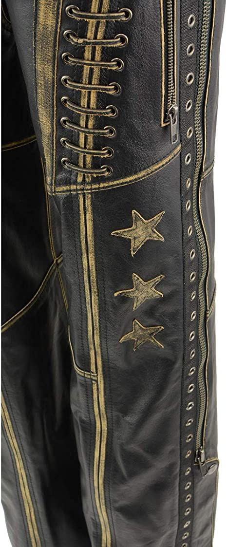 Milwaukee Leather MLL6527 Womens Laced Distressed Brown Leather Chaps Small