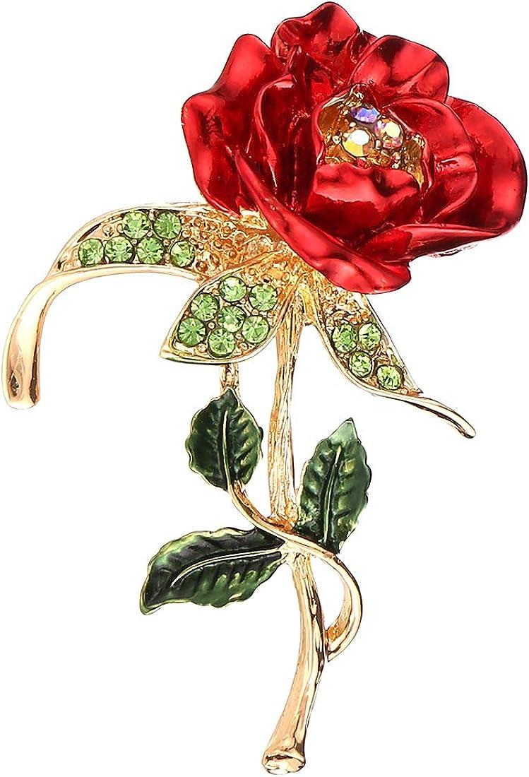 Apanphy® Broche Mujer,Día de la Madre Regalo, Rosa Diamond Alloy Brooch Los Mejores Regalos para el día y el cumpleaños de la Madre (Rosa)
