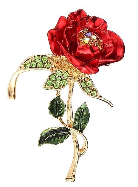 Bllomsem Broche Mujer,Día de la Madre Regalo, Rosa Diamond Alloy Brooch Los Mejores Regalos para el día y el cumpleaños de la Madre (Rosa)