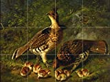 PAIR RUFFED GROUSE AND YOUNG by Arthur Fitzwilliam Tait Tile Mural Kitchen Bathroom Wall Backsplash Behind Stove Range Sink Splashback 4x3 8'' Ceramic, Matte