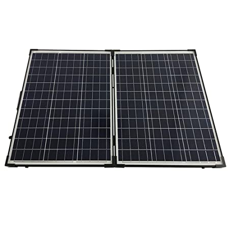 front facing hqst 100 watt 12volt off grid polycrystalline portable foldable solar panel suitcase with charge controller