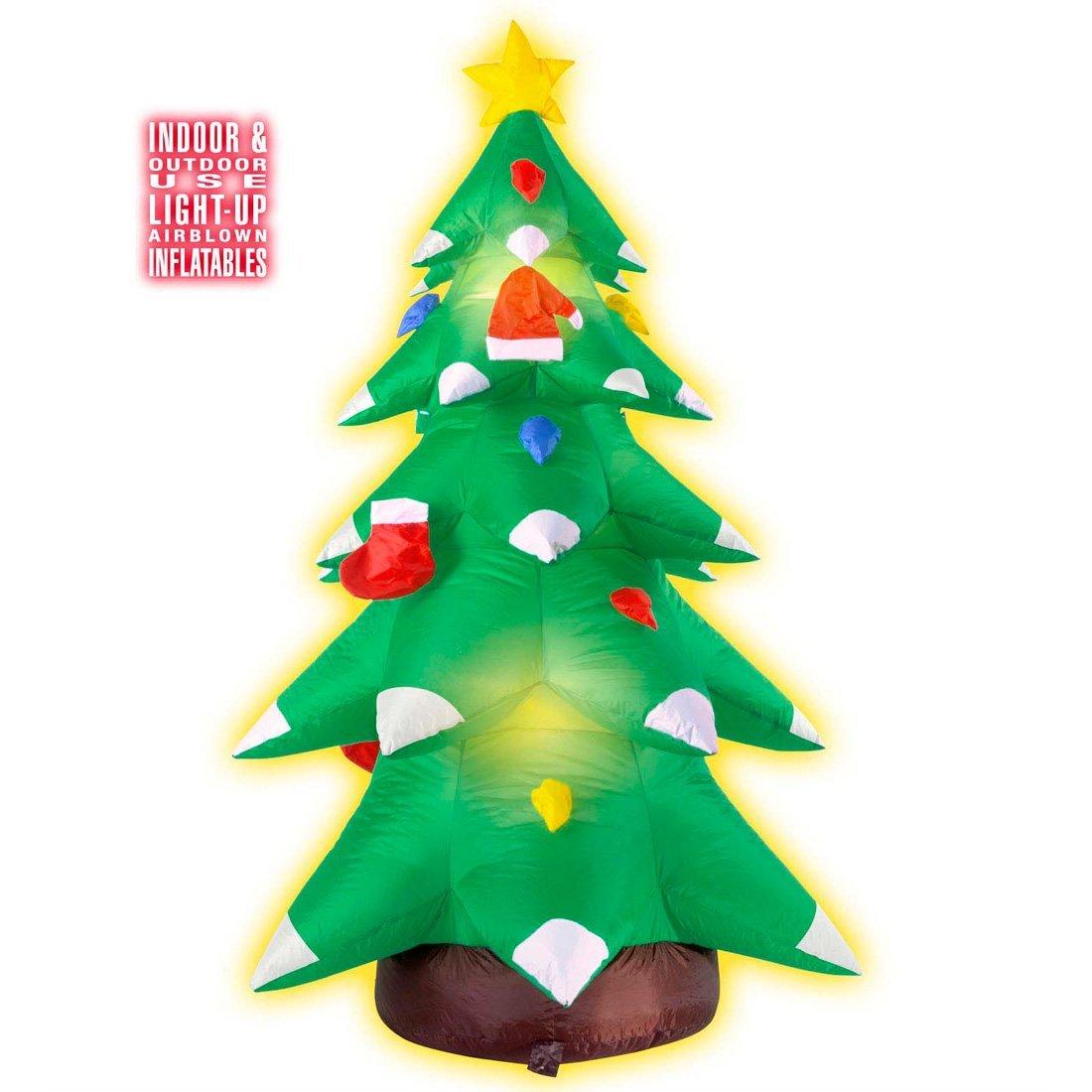 Árbol inflable de Navidad iluminado brillante pino decoración