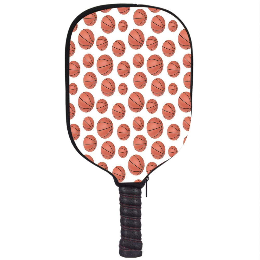 Amazon.com : Neoprene Pickleball Paddle Racket Cover Case, Basketball, Realistic Style Balls Pattern on White Classical Sports Themed Decorative, ...