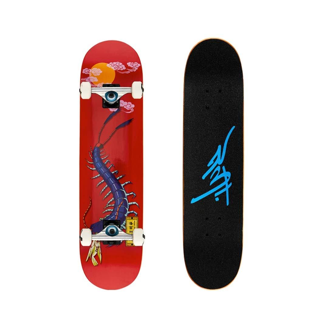 LIUFS-スケートボード プロのスケートボードレトロティーンスケートボードメープルデッキ31.5インチブラシストリートハイウェイロングボード - ムカデ ブラック