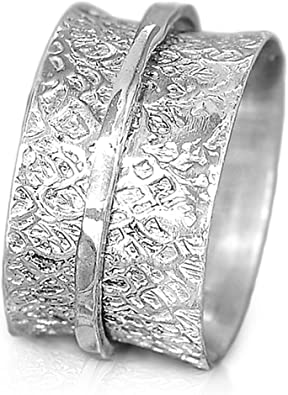 Boho-Magic 925 Sterling Silver Spinner Flowers Ring for Women with 3 Brass Fidget Rings Wide Band