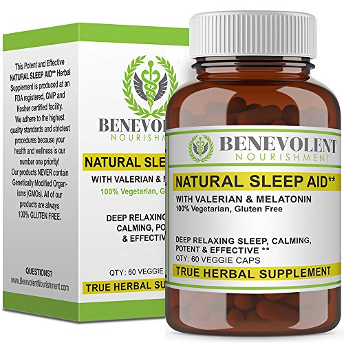 Natural Sleep Aid with Organic Valerian Root & Melatonin - Calming Relaxing Potent & Effective Herbal Supplement Non Habit Forming - 100% Vegetarian & Gluten Free Formula